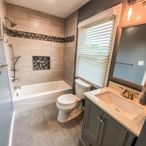 Completed Bathroom Remodel in Gray and white tile